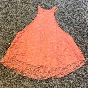 peach colored lace tank